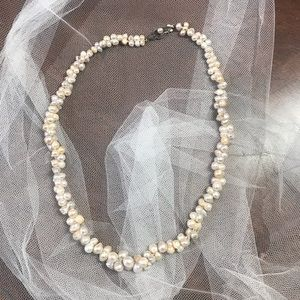 Vintage Ocean Seed Pearl Necklace w Silver Clasp